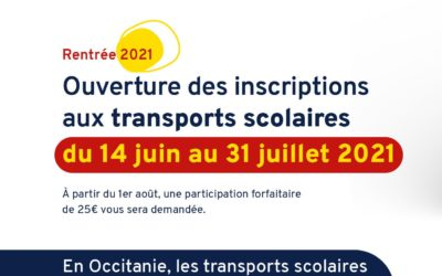 Inscription transport scolaire – rentrée 2021