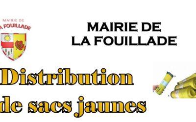 Distribution des sacs jaunes du 15 au 19 novembre 2021 (salle de la mairie)